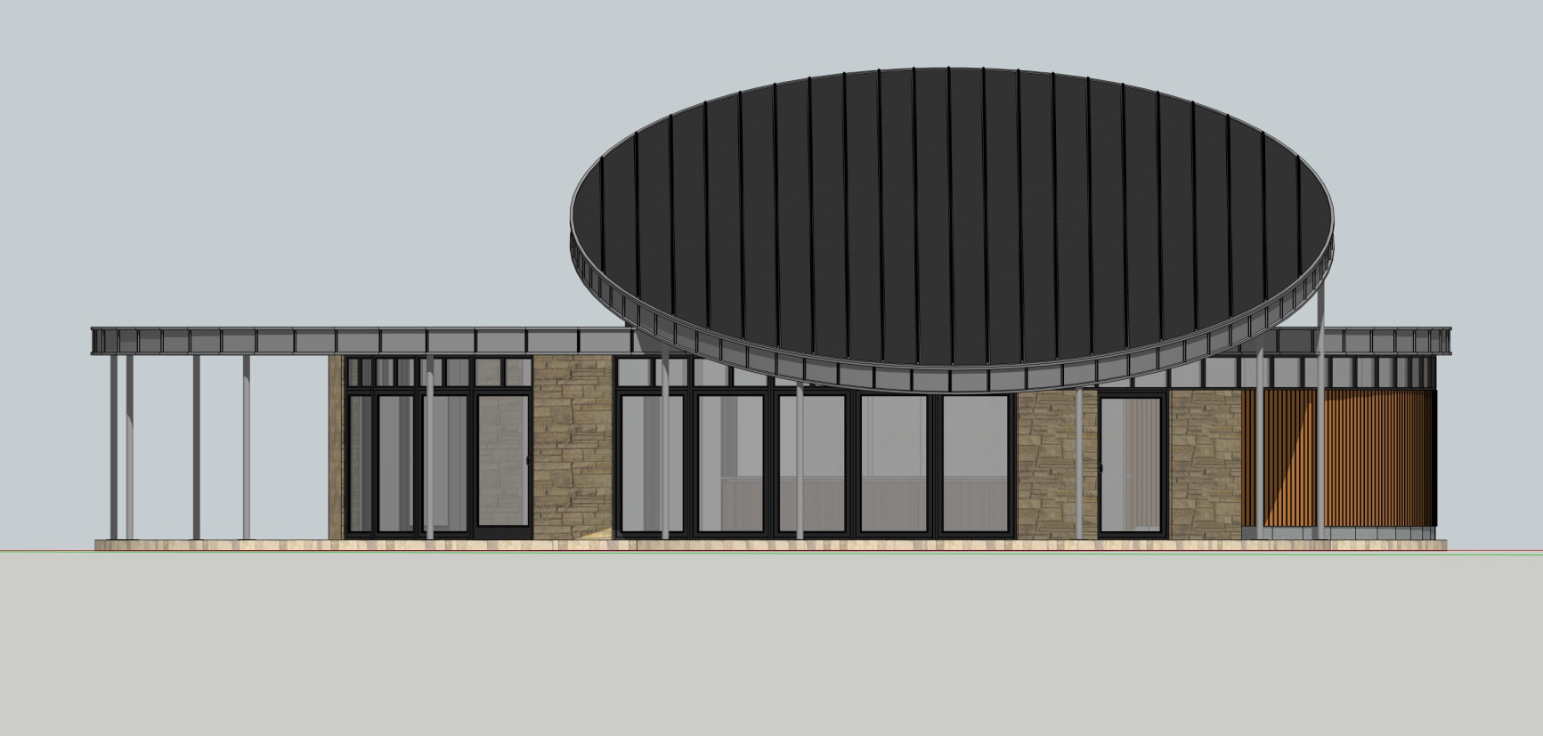 Pavilion south elevation