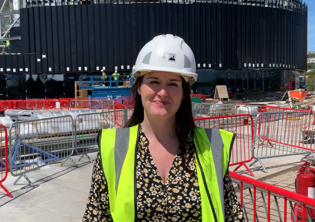 Lisa Mart at the Arena construction site